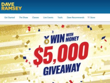 "The Dave Ramsey ""$5,000 Win with Money Giveaway"" Sweepstakes"