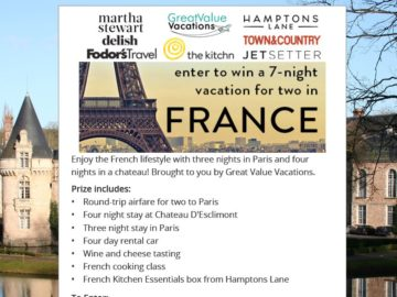 Hamptons Lane Nine Nights in France Sweepstakes