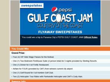 "The ""Pepsi Gulf Coast Jam Fly Away"" Sweepstakes"