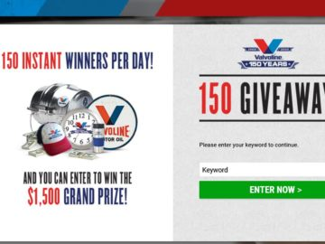 Valvoline 150 Giveaway Sweepstakes
