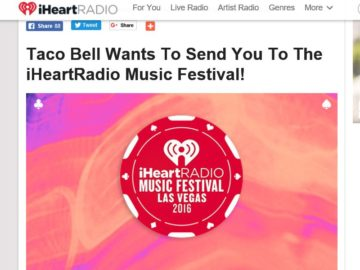 iHeartRadio & Taco Bell VIP Fly-Away Sweepstakes