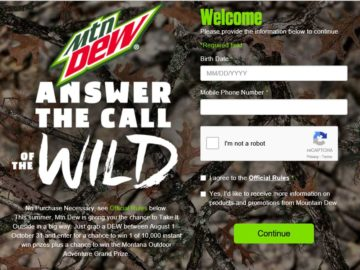 """The Mtn Dew """"Answer the Call of the Wild"""" Sweepstakes"""