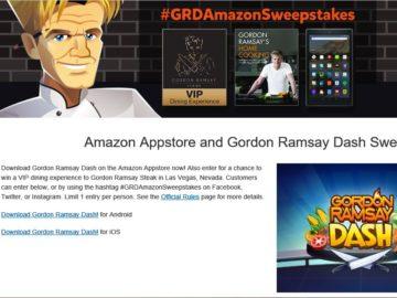 The Amazon Appstore Gordon Ramsay Dash Sweepstakes