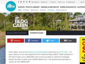 DIY Network Blog Cabin Giveaway Sweepstakes