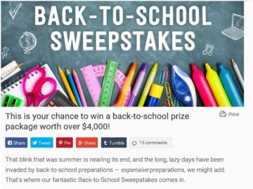 The SheKnows Back to School Sweepstakes