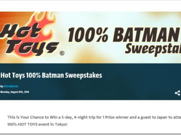 The Batman 100% from Hot Toys Sweepstakes
