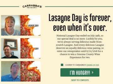"The Carrabba's ""Sonoma County Wine Experience"" Sweepstakes – Select States"