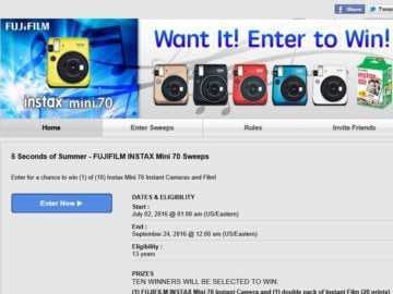 """The FUJIFILM """"5 Seconds of Summer"""" INSTAX Mini 70 Sweepstakes"""