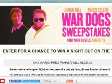 "MovieTickets.com's ""War Dogs"" Sweepstakes"