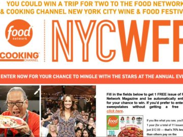 Food Network Magazine Food Network & Cooking Channel New York City Wine & Food Festival Sweepstakes