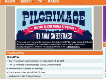 The CMT Pilgrimage Music & Cultural Festival Fly Away Sweepstakes