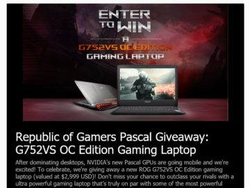 """ASUS """"Republic of Gamers Pascal Giveaway"""" Sweepstakes"""