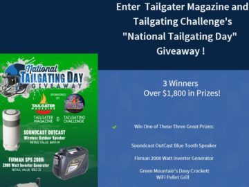 "Tailgater Magazine and Tailgating Challenge ""National Tailgating Day"" Giveaway Sweepstakes"