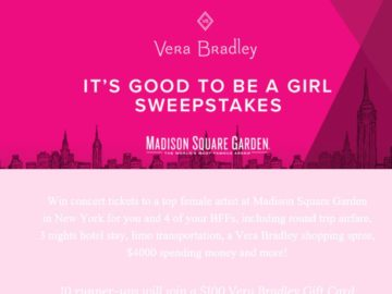 """Vera Bradley's """"It's Good to be a Girl"""" Sweepstakes"""
