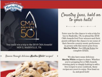The Martha White 2016 Nothing But Country CMA Awards Sweepstakes