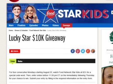 The Food Network Lucky Star $10K Giveaway Sweepstakes