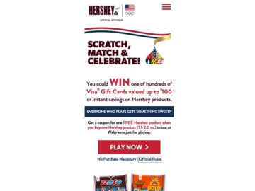 """Hershey's """"Scratch, Match, & Celebrate"""" Game Sweepstakes"""