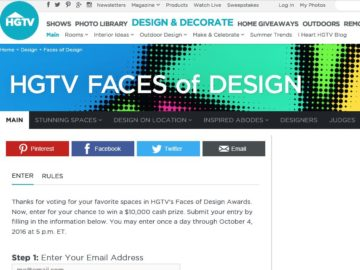 HGTV.com's Faces of Design Awards Giveaway Sweepstakes