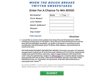 The When the Bough Breaks Twitter Sweepstakes