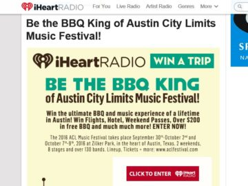 iHeartRadio Be the BBQ King of Austin City Limits Music Festival! Sweepstakes