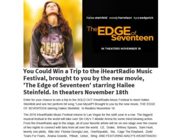 Ryan Seacrest's iHeartRadio Music Festival Flyaway Sweepstakes