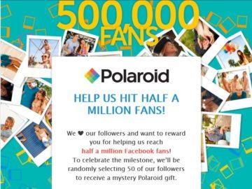 The Polaroid Help Us Hit Half A Million Sweepstakes