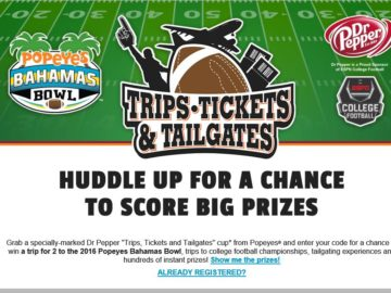 Dr. Pepper Tickets, Trips and Tailgates Sweepstakes