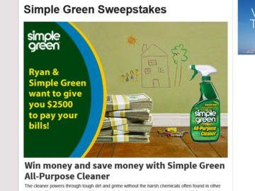 Ryan Seacrest's Simple Green Pay Your Bills 3 Sweepstakes