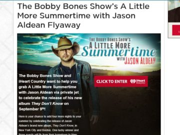The Bobby Bones Show's A Little More Summertime with Jason Aldean Flyaway Sweepstakes