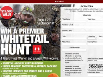 """Bass Pro Shops Under Armour """"Whitetail Hunt"""" Sweepstakes"""