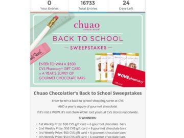 "Chuao Chocolatier ""Back to School"" Sweepstakes"