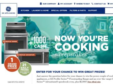 The GE Appliances Now You're Cooking Sweepstakes