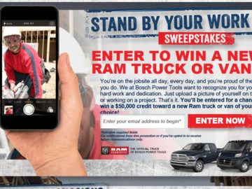 The Bosch Stand By Your Work Sweepstakes