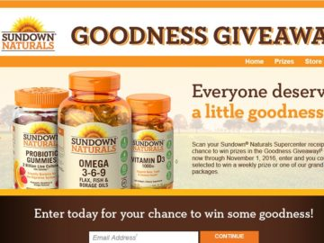 The Sundown Naturals Goodness Giveaway Sweepstakes