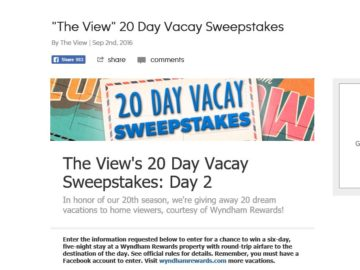 The View's 20 Day Vacay Day 2 Clearwater, FL Vacation Sweepstakes