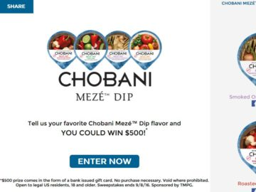 Chobani Mezé Dips Radio Sweepstakes