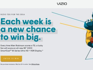 The VIZIO 2016 TDs (Touchdowns) For TVs Sweepstakes