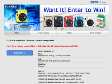"""The FUJIFILM """"Good Vibes"""" INSTAX Mini 70 Instant Camera and Film Sweepstakes"""