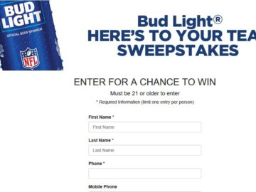 The Bud Light Here's to Your Team Sweepstakes