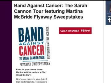 Band Against Cancer: The Sarah Cannon Tour featuring Martina McBride Flyaway Sweepstakes