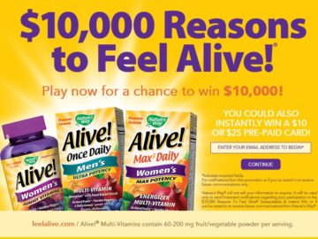 The $10,000 Reasons To Feel Alive! Sweepstakes