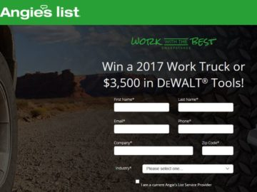 Angie's List Work with the Best Sweepstakes – Business Owners Only