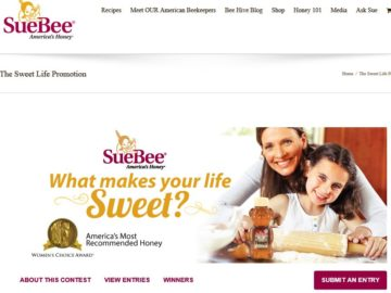 Sue Bee What Makes Your Life Sweet? Sweepstakes