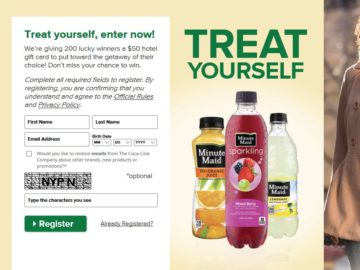 "Minute Maid On Premise ""Treat Yourself"" Instant Win Game"