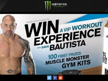 Monster Energy Muscle Monster VIP WorkoutExperience with Dave Bautista Sweepstakes