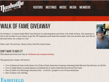 2016 Walk of Fame Induction Ceremony Giveaway Sweepstakes