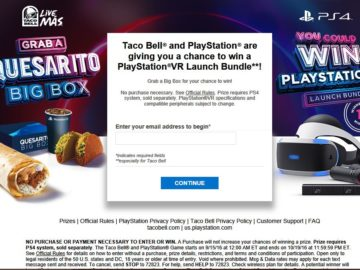 The Taco Bell and PlayStation Game Sweepstakes