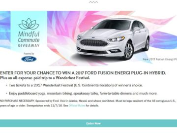 The Ford – 'The Mindful Commute Giveaway' Sweepstakes