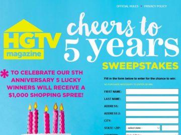 HGTV Magazine's 5th Anniversary Sweepstakes