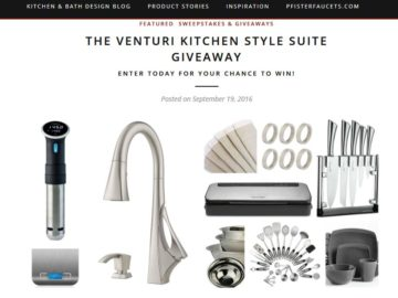 The Pfister Venturi Kitchen Faucet Style Suite Giveaway Sweepstakes